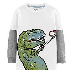 Toddler Boy Carter's Dinosaur Selfie Mock Layer Graphic Tee