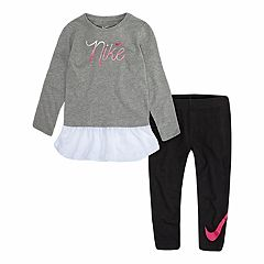Toddler Girl Nike Mesh-Hem Tunic & Logo Leggings Set