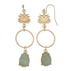 LC Lauren Conrad Lotus Flower Nickel Free Hoop Drop Earrings