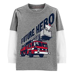 Toddler Boy Carter's Fire Truck Mock Layer Graphic Tee
