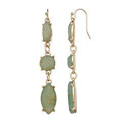 LC Lauren Conrad Green Nickel Free Linear Drop Earrings