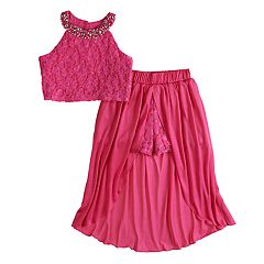 Girls 7-16 Love, Jayne Halter Tank Top & Walkthrough Skirt Set