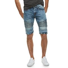 Men's XRAY Slim-Fit Washed Moto Denim Shorts