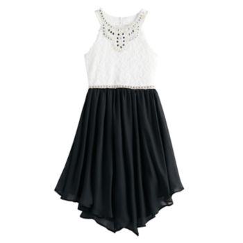 Girls 7-16 Love, Jayne Sleeveless Embellished Neck Halter Dress