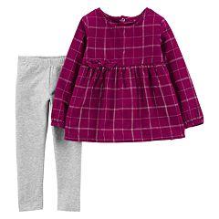 Toddler Girl Carter's  Plaid Babydoll Top & Leggings Set