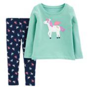 Toddler Girl Carter's Pegasus Applique Top & Glittery Print Leggings Set