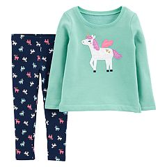 Toddler Girl Carter's Pegasus Applique Top & Glittery Print Leggings Set