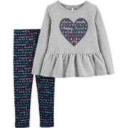Toddler Girl Carter's Heart Peplum-Hem Fleece Top & Print Leggings Set