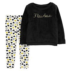 Toddler Girl Carter's 'Flawless' Fuzzy Sweatshirt & Glittery Heart Leggings Set