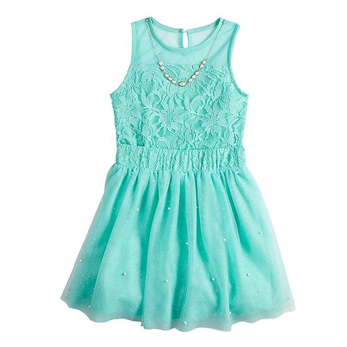 Girls 7-16 Love, Jayne Lace Bodysuit & Skirt Set with Necklace