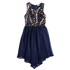 Girls 7-16 Love, Jayne Lace Flip Sequin Bodice Sleeveless Dress