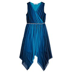 Girls 7-16 Love, Jayne Lace Ombre Sparkle Sharkbite Sleeveless Dress