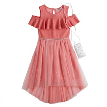Girls 7-16 Love, Jayne Ruffled Cold Shoulder Dress with Purse