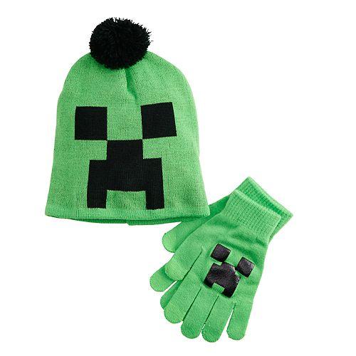 b39385ce89c65 Boys 4-20 Minecraft Creeper Beanie   Gloves Set
