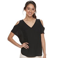 Juniors' Pink Republic Cold-Shoulder V-Neck Tee