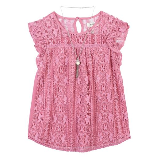 Girls 7-16 Speechless Lace Overlay Tunic Top with Necklace