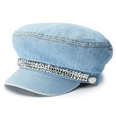 Women's Mudd® Rhinestone Accent Denim Cabbie Hat