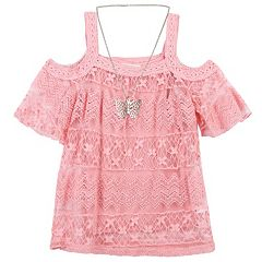 Girls 7-16 Speechless Crochet Overlay Cold Shoulder Tunic Top with Butterfly Necklace