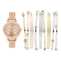 Women's Crystal Watch & Tri-Tone Bangle Bracelet Set