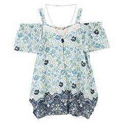 Girls 7-16 Speechless Cold Shoulder Tunic Top with Necklace