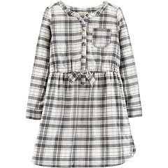 Girls 4-12 Carter's Lurex Plaid Henley Dress