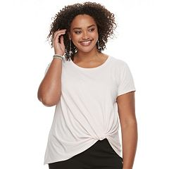 Juniors' Plus Size Candie's® Knot-Front Crepe Top
