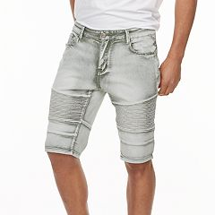 Men's XRAY Slim-Fit Washed Moto Stretch Denim Shorts