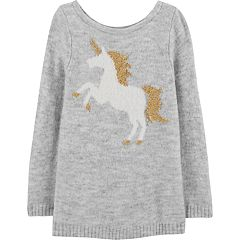 Toddler Girl Carter's Lurex Unicorn Sweater