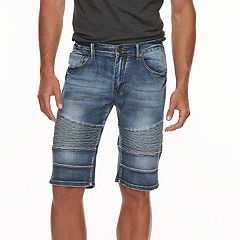 Men's XRAY Slim-Fit Moto Faded Stretch Denim Shorts