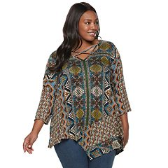 Plus Size World Unity Print Strappy Neck Top