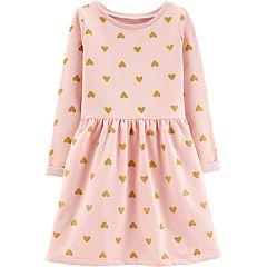 Girls 4-12 Carter's Glittery Heart Fleece Dress