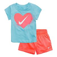 Baby Girl Nike Heart Tee & Mesh Shorts Set
