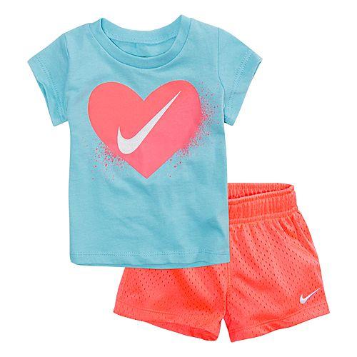 0ebadc6b75f Baby Girl Nike Heart Tee & Mesh Shorts Set