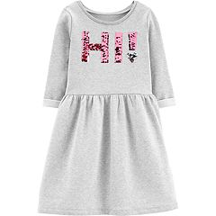 Girls 4-12 Carter's Flip-Sequin 'HI!' Fleece Dress