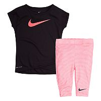 Baby Girl Nike Tunic Top & Striped Capri Leggings Set