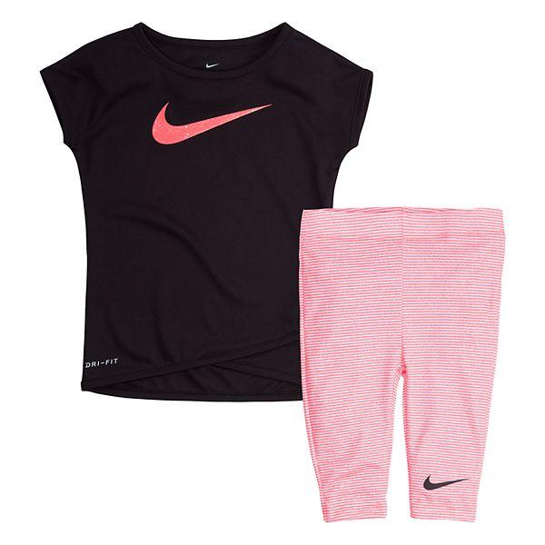 Baby Girl Nike Tunic Top Striped Capri Leggings Set