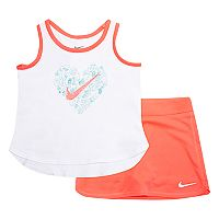 Baby Girl Nike Logo Graphic Tank Top & Solid Skort Set