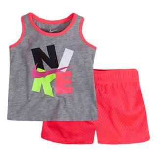 Baby Girl Nike Logo Graphic Tank Top & Mesh Shorts Set