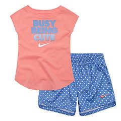 Baby Girl Nike Logo Graphic Tee & Polka-Dot Mesh Shorts Set