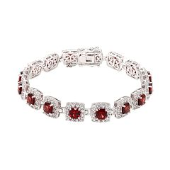 Sterling Silver Garnet &  Lab-Created White Sapphire Halo Bracelet