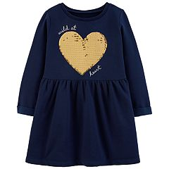 Toddler Girl Carter's Sequined Heart Fleece Dress