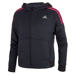 Girls 7-16 adidas Fleece Striped Pattern Hooded Jacket