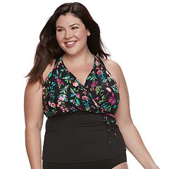 Plus Size Apt. 9® Floral Overlay Tankini Top