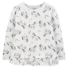 Toddler Girl Carter's Glittery Unicorn Ruffle-Hem Top