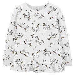 Toddler Girl Carter's Glittery Unicorn Ruffle-Hem Top