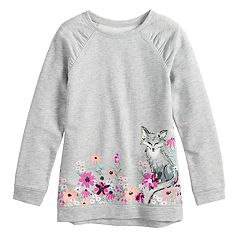 Girls 4-12 SONOMA Goods for Life™ Shirred Glittery Graphic French Terry Tunic
