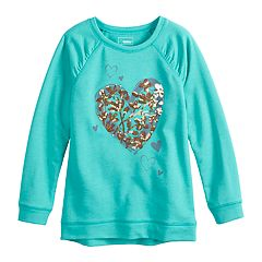 Girls 4-12 SONOMA Goods for Life® Shirred Glittery Graphic French Terry Tunic