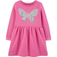 Toddler Girl Carter's Sequined Butterfly Fleece Dress