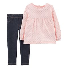 Baby Girl Carter's Star Print Fleece Top & Jeggings Set