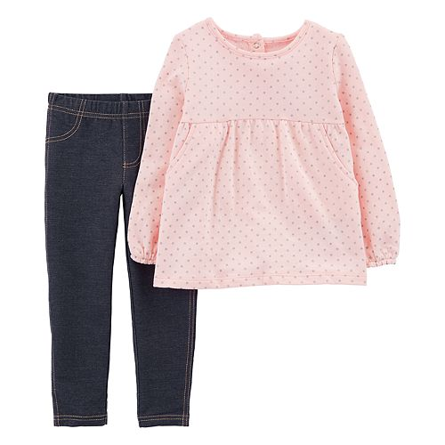 dd65ef57387a4 Baby Girl Carter's Star Print Fleece Top & Jeggings Set